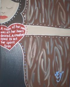 Virginia Woolf; Acrylic on Canvas; Sold