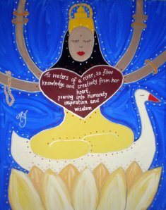 Sarasvati, Hindu Goddess of Arts and Learning; acrylic on canvas; for sale